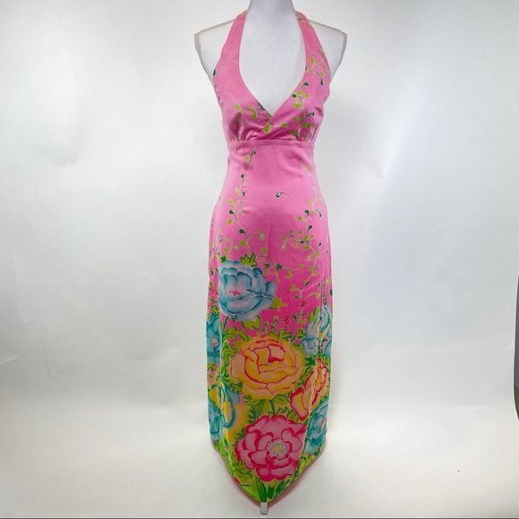 Lilly Pulitzer Cotton/Silk Long Halter Dress 2